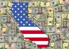 Map of California with cash. Map of California with American flag and dollars illustration Stock Photo
