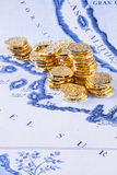 Map California Gold Treasure Doubloons Coins Royalty Free Stock Photography