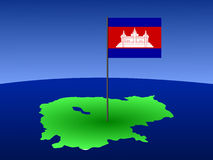 Map of Cambodia with flag Stock Photos