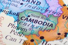 Map of Cambodia. Focusing on Siem Reap. Cambodia`s capital city is Phnom Penh stock photo