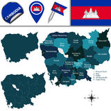 Map of Cambodia with Provinces Stock Photo
