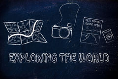 Map, camera, travel guide and passport Stock Photos