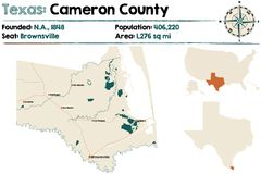 Map of Cameron county in Texas. Detailed map of Cameron county in Texas, USA Stock Images