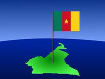 Map of Cameroon with flag Royalty Free Stock Images