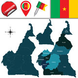 Map of Cameroon with Named Regions Stock Image