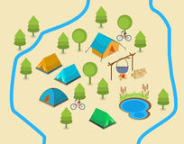 A map of a campsite. An isometric map showing a campsite with two rivers and a lake Stock Photo