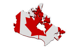 Map of Canada. A red and white map of Canada with the Canadian flag  on white Stock Photos