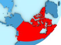 Map of Canada on blue political globe. Canada in red on blue political globe. 3D illustration Stock Images