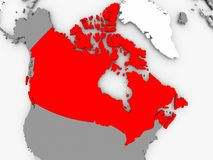 Map of Canada. Canada in red on grey political map. 3D illustration Stock Image