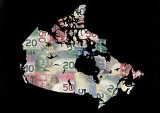 Map of Canada with dollars. Map of Canada with collage of colourful canadian Dollars Royalty Free Stock Photography