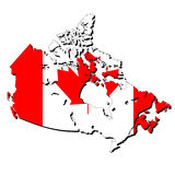 Map of Canada with flag. Map of Canada and Canadian flag illustration Royalty Free Stock Photo