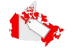 Map of Canada with Flag and Blank Sale Tag. 3d Rendering. Map of Canada with Flag and Blank Sale Tag on a white background. 3d Rendering Stock Images