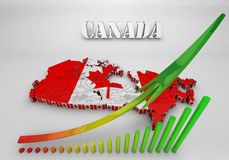 Map of Canada with flag colors. 3d render illustration Stock Photo