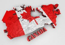 Map of Canada with flag colors. 3d render illustration Royalty Free Stock Image