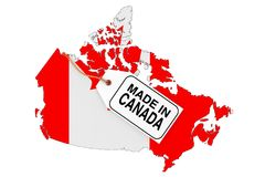 Map of Canada with Flag and Made in Canada Sale Tag. 3d Renderin. Map of Canada with Flag and Made in Canada Sale Tag on a white background. 3d Rendering Stock Image