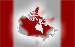 Map of Canada isolated in Snow painted. royalty free illustration