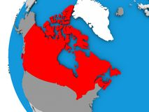 Map of Canada on political globe. Canada in red on political globe. 3D illustration Stock Photography