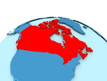 Canada on blue political globe. Map of Canada in red on blue political globe. 3D illustration Royalty Free Stock Photos