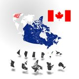 Map of Canada with rivers and lakes. Map of Canada with rivers and lakes, maps of provinces and territories, map of world as background and flag of Canada Royalty Free Stock Photography