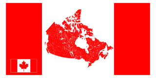 Map of Canada with rivers and lakes. Royalty Free Stock Photography