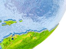 Map of Caribbean on Earth. 3D render of Caribbean on political globe with embossed countries with real land surface and water in place of ocean. 3D illustration stock image
