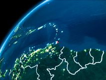 Map of Caribbean at night. Caribbean highlighted in red from Earth's orbit at night with visible country borders. 3D illustration. Elements of this image royalty free stock photo