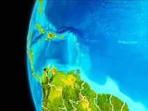 Map of Caribbean in red. Caribbean as seen from Earth's orbit on planet Earth highlighted in red with visible borders. 3D illustration. Elements of this image Royalty Free Stock Image
