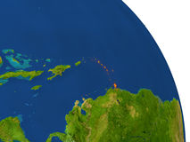 Map of Caribbean in red. Map of Caribbean with surrounding region on planet Earth. 3D illustration with highly detailed planet surface. Elements of this image Stock Image