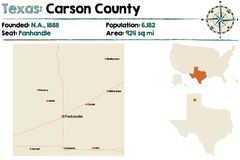 Map of Carson county in Texas. Detailed map of Carson county in Texas, USA Stock Photography