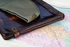 Map case, forage cap and map Stock Photo