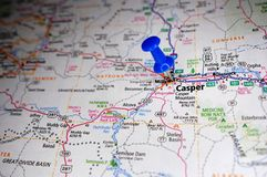 Casper, Wyoming. A map of Casper, Wyoming marked with a push pin royalty free stock images