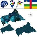 Map of Central African Republic with Named Prefectures Royalty Free Stock Photography