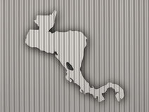 Map of Central America on corrugated iron. Colorful and crisp image of map of Central America on corrugated iron royalty free stock photo