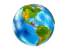Map of Central America on 3D Earth isolated. Central America on 3D model of Earth with country borders and water in oceans. 3D illustration isolated on white stock image