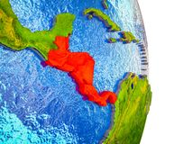 Map of Central America on 3D Earth. Central America on 3D model of Earth with divided countries and blue oceans. 3D illustration royalty free illustration
