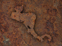 Map of Central America on rusty metal. Colorful and crisp image of map of Central America on rusty metal stock photography
