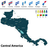 Map of Central America. Vector map of Central America with countries, big cities and icons Royalty Free Stock Image