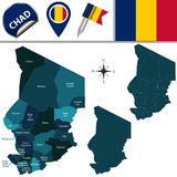 Map of Chad with Named Regions Stock Images
