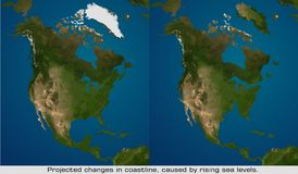 Map of changing shorelines Stock Photo