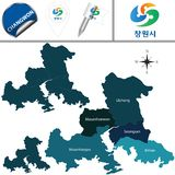 Map of Changwon with Districts, South Korea. Vector map of Changwon in South Korea with named districts and travel icons. There are korean characters on a flag royalty free illustration