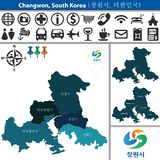 Map of Changwon with Districts, South Korea. Vector map of Changwon, South Korea with named districts and travel icons. There are korean characters on a flag royalty free illustration