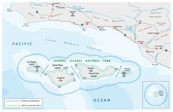 Map of the Channel Islands National Park Stock Image