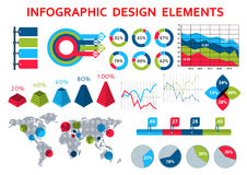 Map and charts infographis elements Royalty Free Stock Images