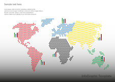 Map with  charts. World map with charts and with red stars Stock Photography