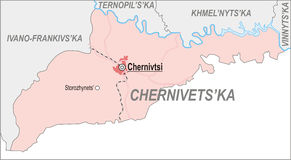 Map of Chernivtsi Oblast Royalty Free Stock Images