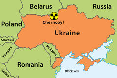 Map of Chernobyl disaster. Map of Chernobyl nuclear accident 1986, Pripyat, Ukraine Royalty Free Stock Image