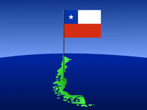 Map of Chile with flag Stock Photos