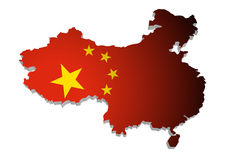 Map of China. 3D Map of China with flag Royalty Free Illustration