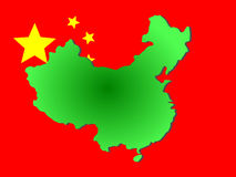 Map of China. And their flag illustration vector illustration