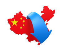 Map of China and Blue Arrow. Isolated on white background. 3D render Royalty Free Stock Images